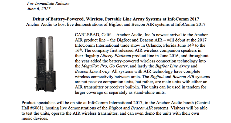 Bigfoot & Beacon AIR to Debut at InfoComm 2017